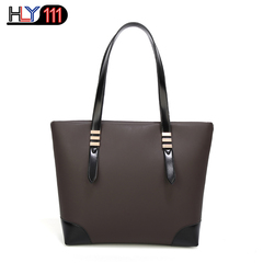 HLY111 fashionable new lady's handbag simple matching color tote bag PU wear-resistant shoulder bag black one size