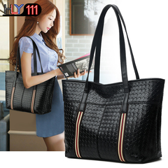 PU soft leather bags new Chinese fashion handbag with large capacity, Tote bag, leisure handbags Woven Black one size
