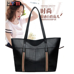 PU soft leather bags new Chinese fashion handbag with large capacity, Tote bag, leisure handbags black one size