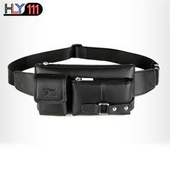 Genuine leather waist bag multi-functional sports bag Men's leisure single shoulder bag fashion cro black Small