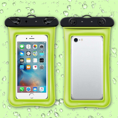 Floating air bag inflatable mobile phone bag  new touch-screen swimming bag,Buy 15 pieces per order green one size