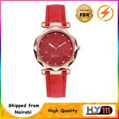 FBK latest Casual Women Watch Romantic Starry Sky Wrist Watch Leather Rhinestone Ladies Clock red one size