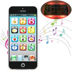 Fast Delivery  Baby Kid Learning Mobile Phone Toy Early Educational Toys Gift with Music LED Lights Black one size