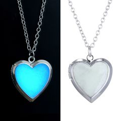 Glow in the Dark Necklace for women Photo Locket vintage Fluorescence heart Necklace Pendant Jewelry Fluorescence heart one size