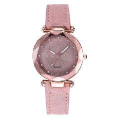 Sales FBK Women's Watches Starry Sky Wrist Romantic Watches Leather Rhinestone Ladies Clock pink one size
