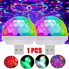 USB Mini Disco Light,Party Lights Ball Sound Activated, Halloween DJ Disco Ball Stage Lights-Multi Colors LED Car Atmosphere Light,Magic Strobe Light for Xmas Parties,Pool,Club, as picture one size