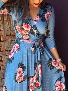 Autumn New Seven-Sleeve Printed Women Evening Dress V-Neck Dress clothes ladies Dresses L light blue