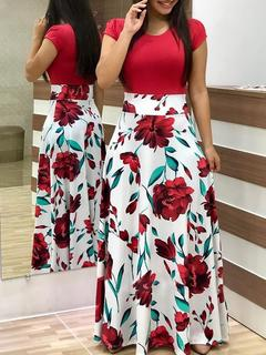 Women Flower Printed Sexy Long/short sleeve dresses Ladies Dress clothes ladies dress S short-red and white