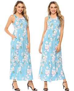 Sleeveless Dresses with Elastic Waist Printed Long Skirt for Women ladies dress S blue