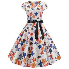 New women wear Hepburn style short sleeve LARGE PENDANT printed retro dress clothes ladies dress 2XL white