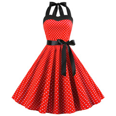 Hot-selling women's wear necklace wave-point Vintage Print Dress clothes ladies dress XL red