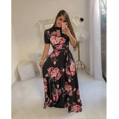New Sexy Fashion Digital Printed Dress Dresses for Women clothes ladies dress xl short-black