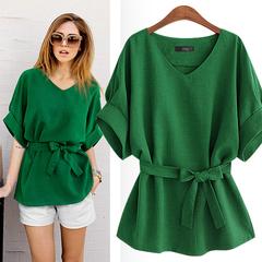 Women wear new collar short sleeve shirt Bat sleeve loose waist cotton hemp tops green 4xl