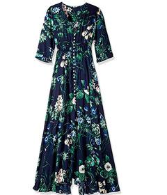 Women wear new pattern V-neck loose long Dresses skirt clothes ladies dress m tibetan blue-Middle sleeve