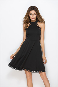 New Women Dresses Long Dresses with Stitching and Hollow vest dress clothes ladies xl black