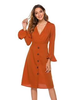 JM Closet 2019 New Fashion Women long-sleeved V-collar simple fashion dress in pure color Dresses m orange