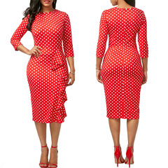 JM Closet 2019 New Fashion Women Sexy Point Dresses clothes ladies Dress s red