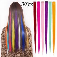 3 Pcs Glamorous hair extension piece conjoined long straight women's clip color wig female Purple 3*55CM