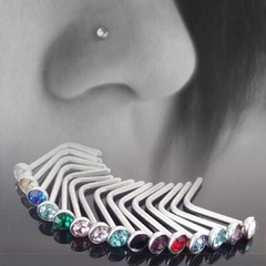 10 stainless steel 1.8 mm diamond nose studs rhinestone nose ring body puncture multicolor