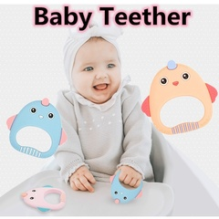 Baby teeth toys food grade silicone cute cartoon nipple teether children's teether toys PINK 7.5*7.9*0.9CM