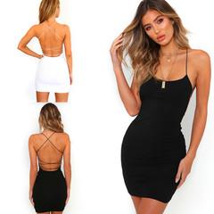 Fashion Lady Sexy Halter Dress Nightclub Solid Color Bag Hip Strap Step Skirt S Black
