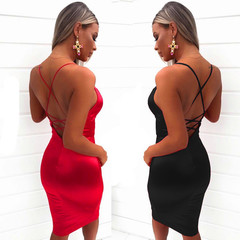 Fashion Lady Sexy Deep V Dress Models Long Paragraph Halter Straps Step Skirt S Red