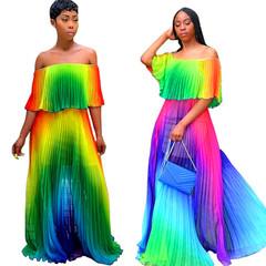 2019 Summer Color Gradient One-shoulder Pleated Dress Female Chiffon Dresses XL Purple