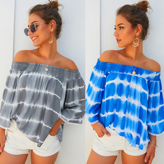 Women's 2019 Early Autumn New Word Shoulder Print Cropped Sleeves Loose Tops Gray S
