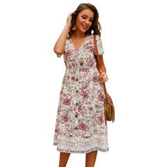 2019 Summer Women's Bohemian Print V-neck Short-sleeved Pocket Dress S One color
