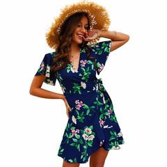 2019 Summer New Print V-neck Ruffled Temperament Commuter Dress Women's Clothes S Blue