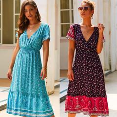 Fashion Women's 2019 Summer Bohemian Print Short Sleeve V-neck Dress S Red