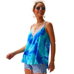 Original Design Europe and America 2019 Lace V-neck Sling Cotton Shirt Vest Blue S
