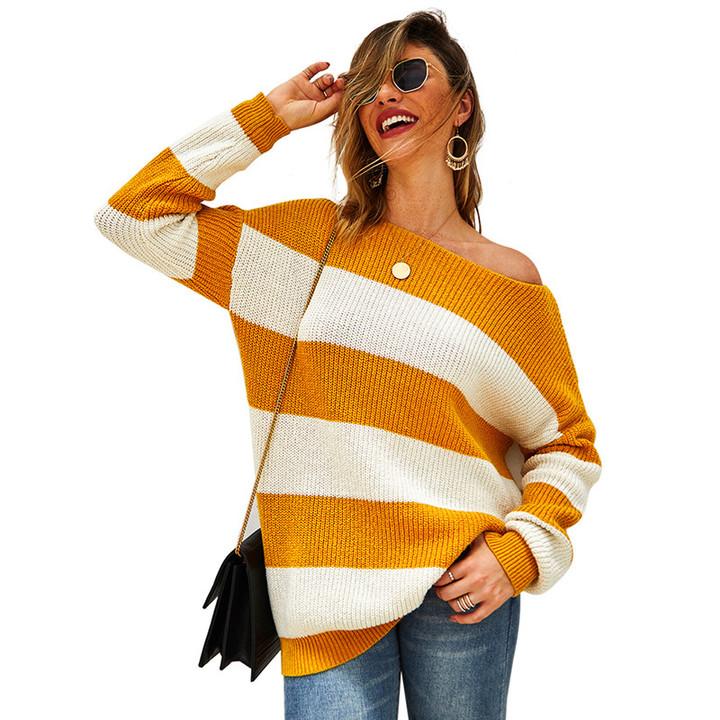 Original Design Sweater Female 2019 New Women's Sexy Striped Sweater Top One color S