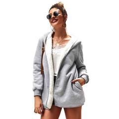 Original Design Women's 2019 New Double-faced Velvet Solid Color Sweater Hooded Jacket Gray S