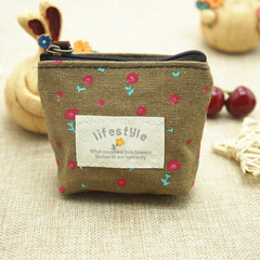 1Pc Cute Women's Pink Flower Mini Wallet Make Up Bags Cosmetic Bag Canvas Change Coin Purse random color one size