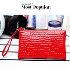 New Women Lady Zipper Weave Handbag Grid Evening Bag Purse Clutch Bag hot pink one size
