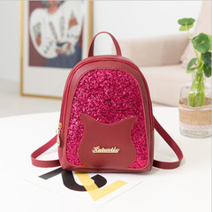Cute Mini Shiny Backpack Leather Zipper School Bag Satchel Travel Shoulder Bags for Women Girl red one size