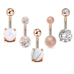Fashion umbilical diamond belly button set zircon navel ring Gold