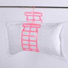Multifunctional Hangers Laundry Toys Dolls Hanger Adjustable Pillow  Dry Rack Pink