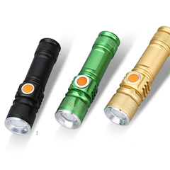 T6 Q5 Led Tactical Flashlight Handheld Torch  Adjustable Focus No need  batteries USB charge T6 Black one size