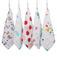 5 pack Baby Muslin Organic Washcloths Fasoar Soft  Newborn Face Towel for Adults and Infant 5 pack color random 30 x 30 cm
