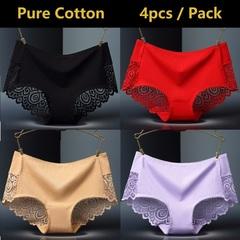 4 Pack Pure Cotton Women Underwear Sexy Lace Panties Ladies Sleepwear Seamless Lingerie 4 pack colors by random xl