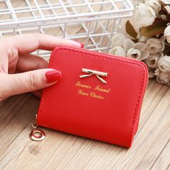 Cute Wallet Women Bowknot Small Purse PU Artificial Leather Wallet Female Zipper Coin Purse Wallet red 10x 8.5x1.5cm