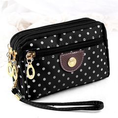 Women Cute  Wallet Purse Triple Zipper Clutch Bag Case Classy black 16.5x 10x4cm