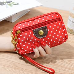 Women Cute  Wallet Purse Triple Zipper Clutch Bag Case Classy red 16.5x 10x4cm