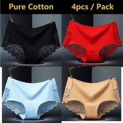4 Pack Pure Cotton Women Underwear Sexy Lace Panties Ladies Sleepwear Seamless Lingerie black+red+blue+nude l