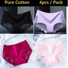 4 Pack Pure Cotton Women Underwear Sexy Lace Panties Ladies Sleepwear Seamless Lingerie black+pink+purple+wine red xl