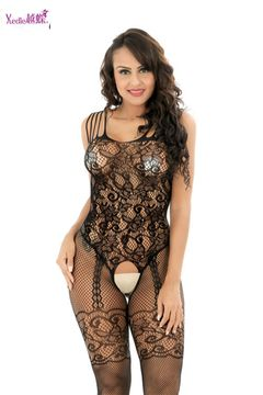Women's Crotchless Fishnet Bodystocking Sexy Lingerie High Elasticiy Open Crotch Bodysuit A-black one size(fit for S-XXL)