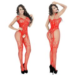 Women's Crotchless Fishnet Bodystocking Sexy Lingerie High Elasticiy Open Crotch Bodysuit A-red one size(fit for S-XXL)