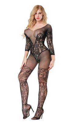 Women's Crotchless Fishnet Bodystocking Sexy Lingerie High Elasticiy Open Crotch Bodysuit D-black one size(fit for S-XXL)